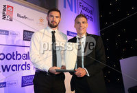 Press Eye - Belfast - Northern Ireland - 13th May 2019 . Northern Ireland Football Awards at the Crowne Plaza Hotel, Belfast. . Photo by Declan Roughan / Press Eye.. Jordan\'s Gift Goal of the Season award Jared Kennedy, Director of Jordan\'s Gift presents Ards striker Michael McLellan with the award .