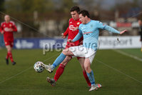 Sadler\'s Peaky Blinders Irish Cup First Round. The Showgrounds, Ballymena, Northern Ireland 27/4/21. Ballymena United vs Portadown. Ballymenas Andrew McGrory and Portadowns Stephen Teggart. Mandatory Credit INPHO/PressEye/Philip Magowan