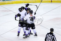 Press Eye - Belfast -  Northern Ireland - 10th March 2018 - Photo by William Cherry/Presseye. Braehead Clan players celebrate scoring against the Belfast Giants during Saturday evenings Elite Ice Hockey League game at the SSE Arena, Belfast.