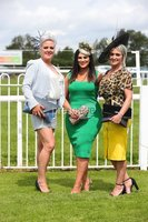 Press Eye - Belfast - Northern Ireland - 22nd June 2019 - . Summer Festival Of Racing Day 2 at Down Royal Racecourse.. Arlene McManus, Jacinta ONeill and Gillian Allison pictured at Down Royal Racecourse.. Photo by Kelvin Boyes / Press Eye.