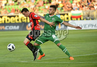 Wednesday 11th July 2018. UEFA Champions League First Qualifying Round First Leg between PFC Ludogorets Razgrad and Crusaders FC .. Ludogorets Gustavo Campanharo  in action with Crusaders Paul Heatley . Mandatory Credit: Inpho/Stephen Hamilton