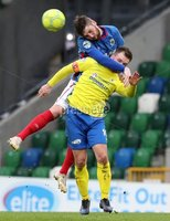Danske Bank Premiership, Windsor Park, Belfast 10/2/2018. Linfield vs Dungannon Swifts. Linfield\'s Mark Stafford in action with Ryan Harpur. of Dungannon. Mandatory Credit ©INPHO/Declan Roughan