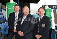 ©Press Eye Ltd Northern Ireland -10th May 2012. Mandatory Credit - Picture by Darren Kidd/Presseye.com . Harry Gregg\'s Testimonial squad announcement.. Sir Alex Ferguson\'s Manchester United first team will meet an Irish League Select XI managed by Martin O\'Neill and David Jeffrey at Windsor Park, Belfast, with kick off scheduled for 19:30 BST. As well as honouring former United goalkeeper Harry, this prestigious friendly match will also raise funds for charity.. John Gregg, David Jeffrey and John White - secretary, Harry Gregg Testimonial committee.