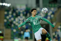 Press Eye - Belfast - Northern Ireland - 12th November 2020. European Qualifier. Northern Ireland v Slovakia. Northern Ireland\'s Jamal Lewis.. Picture: Philip Magowan / Press Eye