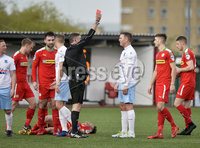 9th May 2018. Europa league play off semi final match between Cliftonville and Ballymena United at Solitude in Belfast.. Ballymena\'s Kevin Braniff gets a red card after a challenge on Conor McDonald. Mandatory Credit ©Inpho/Stephen Hamilton