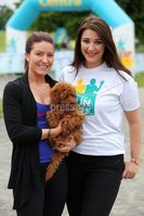 Press Eye - Belfast - Northern Ireland - 5th June 2016 - . Sarah Crowther from and Rachael Dalzell from Belfast  take part in the first ever Centra 5k pairs run for Action Cancer at Ormeau Park.. Over 100 families, friends and colleagues paired up today (Sunday 5th June) for the inaugural Centra Run Together event at Ormeau Park, raising vital funds for local charity Action Cancer. . Run Together is a set of four 5k races taking place across Belfast, Mid Ulster and Derry between June and October which encourage you to run with your partner, son, daughter, friend or neighbour. . Picture by Kelvin Boyes / Press Eye . .