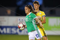 PressEye - Belfast - Northern Ireland - 05th October 2018. Pictured: Northern Ireland\'s Louise McDaniel and Kosovo\'s Diellza Hyseni.. Picture: Philip Magowan / PressEye