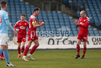 Sadler\'s Peaky Blinders Irish Cup First Round. The Showgrounds, Ballymena, Northern Ireland 27/4/21. Ballymena United vs Portadown. Portadowns Lee Bonis celebrates. Mandatory Credit INPHO/PressEye/Philip Magowan