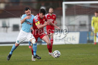 Sadler\'s Peaky Blinders Irish Cup First Round. The Showgrounds, Ballymena, Northern Ireland 27/4/21. Ballymena United vs Portadown. Ballymenas James Ervin and Portadowns Lee Bonis. Mandatory Credit INPHO/PressEye/Philip Magowan