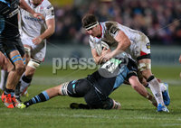 12 February 16 - Picture by Darren Kidd / Press Eye..  . Guinness PRO12 Ulster v Glasgow at Kingspan Stadium, Belfast.. Ulster\'s Robbie Diack is tackled by Glasgow\'s Greg Peterson