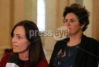 Press Eye - Belfast - Northern Ireland - 14th May 2018. The SDLP\'s (L-R) Nicola Mallon and Claire Hanna make a statement to the media on the Brexit negotiations in the Great Hall, Parliament Buildings, Stormont. Picture by Jonathan Porter/PressEye