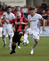 11th July 2019. Europa league First round qualifying match between Crusaders and B36 Torshavn at Seaview Belfast.. Crusaders David Cushley   in action with Torshavns Lukasz Cieslewicz. Mandatory Credit / Stephen Hamilton/Inpho