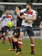. Danske Bank Premiership, Seaview, Belfast 13/1/2018. Crusaders vs Ards. Crusaders Paul Heatley  in action with Ards Nathan Hanley. Mandatory Credit ©INPHO/Stephen Hamilton