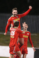 Press Eye - Belfast - 6th January 2018  . Cliftonville v Warrenpiont Town, Tennents Irish Cup 5th round at Solitude, North Belfast.. Cliftonville\'s Jamie Harney celebrates scoring his hat trick. Picture by Matt Mackey / Inpho.ie