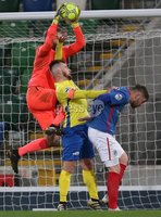 Danske Bank Premiership, Windsor Park, Belfast 2/12/2017. Linfield vs Dungannon Swifts. Linfield\'s Roy Carroll and Ryan Harper of Dungannon Swifts. Mandatory Credit @INPHO/Brian Little