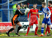 Danske Bank Premiership Play-Off, The Ballymena Showgrounds, Co. Antrim 7/4/2018 . Coleraine vs Cliftonville. Brian Neeson makes an early save for Cliftonville. Mandatory Credit ©INPHO/Freddie Parkinson