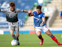 Danske Bank Premiership, Windsor Park, Belfast 10/8/2019. Linfield vs Institute. Linfield\'s Jordan Stewart with Institute\'s Aidan McCauley. Mandatory Credit INPHO/John McVitty