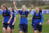 PressEye - Belfast - Northern Ireland - 22nd February 2021. Northern Ireland\'s Lauren Wade, Nadene Caldwell and Marissa Callaghan during Monday afternoons training session ahead of Tuesday\'s Womens Friendly International against England at St George\'s Park, England. . Picture: Philip Magowan / Press Eye
