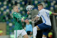 Press Eye - Belfast - Northern Ireland - 12th November 2020. European Qualifier. Northern Ireland v Slovakia. Northern Ireland\'s Steve Davis and Slovakia\'s Juraj Kucka. Picture: Philip Magowan / Press Eye