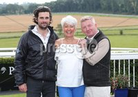 Press Eye - Belfast - Northern Ireland - 13th July 2017 . Downpatrick racecourse family fun race day.. Philip McClean, Pamela Ballantine and Richard Lyttle . Picture by Matt Mackey / presseye.com.