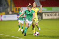 PressEye - Belfast - Northern Ireland - 05th October 2018. Pictured: Northern Ireland\'s Abbie Magee and Kosovo\'s Leonora Ejupi.. Picture: Philip Magowan / PressEye