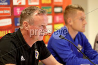 Press Eye - Belfast -  Northern Ireland - 11th October 2018 - Photo by William Cherry/Presseye. Northern Ireland manager Michael O\'Neill and captain Steven Davis during Thursday nights press conference at the Ernst Happel Stadium in Vienna, ahead of their UEFA Nations League game against Austria.