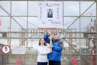 Press Eye - Belfast - Northern Ireland - 19th May 2019. Protest at the gates of Maghaberry Prison in Co. Down by families who have lost loved ones to suicide in prison. Paul McConville, pictured with his daughter Christine(12), lost his 22-year-old son Daniel in August 2018.  The father-of-two from Lurgan died while in custody. He had been due to appear in court charged with possession of cannabis resin the day after he died.. . Picture by Jonathan Porter/PressEye