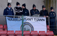 Press Eye - Belfast - 6th January 2018  . Cliftonville v Warrenpiont Town, Tennents Irish Cup 5th round at Solitude, North Belfast.. Warrenpiont Town fans. Picture by Matt Mackey / Inpho.ie