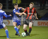 Danske Bank Premiership, The Showgrounds Newry 11/01/2019. Newry vs Crusaders. Newrys Stephen Teggart  with Crusaders Rodney Brown. Mandatory Credit INPHO/Stephen Hamilton.