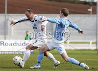 ©/Presseye.com - 28th April 2012.  Press Eye Ltd - Northern Ireland - Carling Premiership. Lisburn Distillery V Ballymena Utd.. Lisburn captain Pat McShane and Ballymena\'s Alan Teggart.. Mandatory Credit Photo Lorcan Doherty / Presseye.com