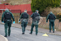 Press Eye - Belfast - Northern Ireland - 11th April 2018. PSNI officers at the scene on Tyndale Drive area of Ballysillan area of north Belfast where a shooting incident took place on Tuesday evening. . Picture by Jonathan Porter/PressEye