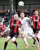 11th July 2019. Europa league First round qualifying match between Crusaders and B36 Torshavn at Seaview Belfast.. Crusaders Ross Clarke  in action with Torshavns Benjamin Heinesen. Mandatory Credit / Stephen Hamilton/Inpho