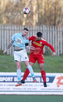 Press Eye - Belfast - 6th January 2018  . Cliftonville v Warrenpiont Town, Tennents Irish Cup 5th round at Solitude, North Belfast.. Cliftonville\'s Jamie Harney in action with Warrenpiont Town\'s Darren Muray. Picture by Matt Mackey / Inpho.ie