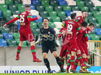 County Antrim Shield Final -  Windsor Park.  21.01.20. Cliftonville FC vs Ballymena United. Cliftonville celebrate after they score in the last minute to win 2-1. . Mandatory Credit INPHO/Jonathan Porter
