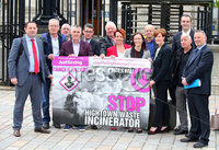 Press Eye - Belfast - Northern Ireland - 14th May 2018. Mallusk anti incinerator group No Arch 21 win their case against the against the civil service to have the scheme go ahead outside north Belfast.  The group, including local politicians, pictured leaving the High Court in Belfast. . See copy by Alan Erwin. Picture by Jonathan Porter/PressEye