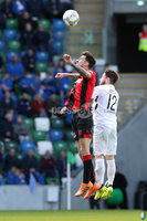 Tennent\'s Irish Cup Final - Ballinamallard United vs Crusaders - National Football Stadium - Windsor Park - Belfast - 4/5/19. Ballinamallard United vs Crusaders. Mandatory Credit INPHO/Declan Roughan. Ballinamallard United\'s Chris Kelly with Declan Caddell of Crusaders