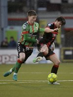 Danske Bank Premiership, Seaview Belfast.. 10/02/2018.  Crusaders v Glentoran. Crusaders Philip Lowry  in action with Glentorans Peter McMahon . Mandatory Credit ©INPHO/Stephen Hamilton.