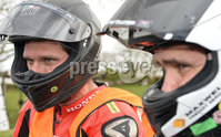 Mandatory Credit: Rowland White / PressEye. Motor Cycle Racing: 57th Tandragee 100 . Venue: Tandragee. Practice Day. Date: 21st April 2017. Caption: Head to Head - Guy Martin and William Dunlop