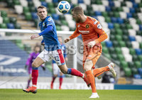 Danske Bank Premiership, National Football Stadium at Windsor Park, Belfast, Northern Ireland 17/10/2020. Linfield vs Carrick Rangers. Linfields Kirk Millar with Gerard Kelly of Carrick Rangers. Mandatory Credit INPHO/Declan Roughan