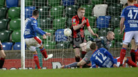 21/02/2020. Danske Bank Irish Premiership match between Linfield and Crusaders at The National Stadium.. Linfields Andy Waterworth puts his side 2-0 up. Mandatory Credit  Inpho/Stephen Hamilton