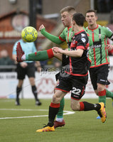 Danske Bank Premiership, Seaview Belfast.. 10/02/2018.  Crusaders v Glentoran. Crusaders Paul Heatley  in action with Glentorans Dylan Davidson. Mandatory Credit ©INPHO/Stephen Hamilton.