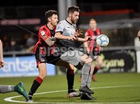 3/12/2019. Bet McLean league cup semi final between Crusaders and Institute at Seaview.. Crusaders Jordan Forsythe in action with Institutes Niall Grace. Mandatory Credit Inpho/Stephen Hamilton