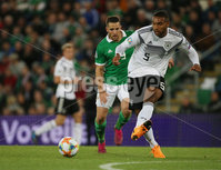 PressEye-Northern Ireland- 9th September  2019-Picture by Brian Little/PressEye. Northern Ireland  Conor Washington   and Germany Marco Reus    during Monday\'s  European Championship Qualifying Group C match  at the National  Football Stadium at Windsor Park,Belfast.. Picture by Brian Little/PressEye .
