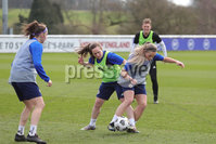 PressEye - Belfast - Northern Ireland - 22nd February 2021. Sam Kelly and Simone Magill during Monday afternoons training session ahead of Tuesday\'s Women\'s Friendly International against England at St George\'s Park, England. . Picture: Philip Magowan / Press Eye.