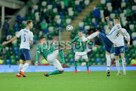 Press Eye - Belfast - Northern Ireland - 12th November 2020. European Qualifier. Northern Ireland v Slovakia. Northern Ireland\'s Kyle Lafferty and Slovakia\'s Juraj Kucka.. Picture: Philip Magowan / Press Eye