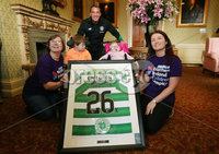 Press Eye - Belfast - Northern Ireland  - 13th July 2017 - . Celtic FC Manager Brendan Rodgers donates a shirt to the Northern Ireland Children\'s Hospice. . Mr Rodgers is pictured with Luke and  Morag Mullan with . Michelle and Aimee Neill .. Photo by Kelvin Boyes / Press Eye..