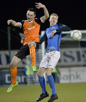 Danske Bank Premiership, Mourneview Park, Armagh 8/9/2017. Glenavon vs Carrick Rangers . Glenavon\'s Rhys Marshall in action with Carrick\'s Mark Edgar. Mandatory Credit ©INPHO/Stephen Hamilton