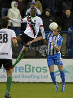 Bet Mclean league cup 3rd round . 8th October 2019. Coleraine  v Glentoran ay Ballycastle road, Coleraine. Coleraines Aaron Canning  in action with Glentorans Salou Jallow. Mandatory Credit INPHO/Stephen Hamilton.