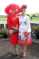 Press Eye - Belfast - Northern Ireland - 11th August 2019 - Downpatrick Racecourse Style Sunday race meeting. . (L-R) Carol Rooney, winner of the Most Stylish h. Hat & Accessories Competition and Grainne Carr winner of the HannonTravel.com Ladies Upstyle Hair Competition.