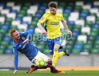 Danske Bank Premiership, Windsor Park, Belfast 2/12/2017 . Linfield vs Dungannon Swifts. Linfield\'s Robert Garrett and Ryan Mayse of Dungannon Swifts. Mandatory Credit ©INPHO/Brian Little